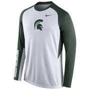Nike White Michigan State Spartans 2015-2016 Elite Basketball Pre-Game Shootaround Long Sleeve Dri-FIT Top