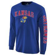 Men's Fanatics Branded Royal Kansas Jayhawks Distressed Arch Over Logo Long Sleeve Hit T-Shirt