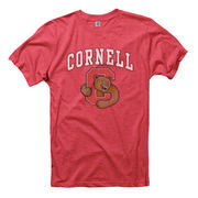Cornell Big Red Big Arch N' Logo Ring Spun Slim Fit T-Shirt - Heathered Red