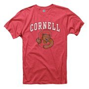 Cornell Big Red Big Arch N' Logo Ring Spun Slim Fit T-Shirt - Heathered Red