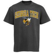 Men's New Agenda Charcoal GA Tech Yellow Jackets Arch Over Logo T-Shirt