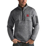 Men's Antigua Heathered Charcoal Rutgers Scarlet Knights Fortune 1/2-Zip Pullover Sweater