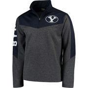 Men's Colosseum Charcoal/Navy BYU Cougars Top Gun Quarter-Zip Pullover Jacket