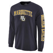 Men's Fanatics Branded Navy Marquette Golden Eagles Distressed Arch Over Logo Long Sleeve Hit T-Shirt