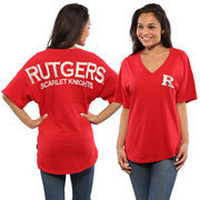 Women's Red Rutgers Scarlet Knights Oversized Short Sleeve Spirit Jersey V-Neck Top