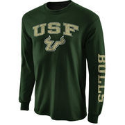 Men's New Agenda Green South Florida Bulls Distressed Arch & Logo Long Sleeve T-Shirt