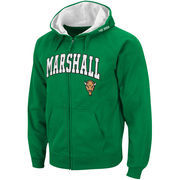 Men's Stadium Athletic Kelly Green Marshall Thundering Herd Arch & Logo Full Zip Hoodie