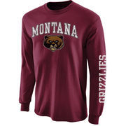 Mens Montana Grizzlies Maroon Arch & Logo Long Sleeve T-Shirt
