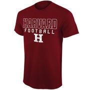 Mens Harvard Crimson Crimson Frame Football T-Shirt