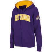 Women's Stadium Athletic Purple East Carolina Pirates Arched Name Full-Zip Hoodie
