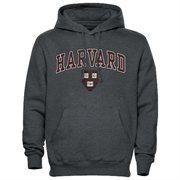 Mens Dark Gray Harvard Crimson Arch Over Logo Hoodie
