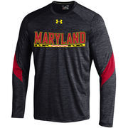 Men's Under Armour Black Maryland Terrapins 2016 Sideline Microstripe Performance Long Sleeve T-Shirt