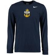 Men's Nike Navy Navy Midshipmen Big Logo Long Sleeve T-Shirt
