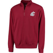 Men's Stadium Athletic Crimson Washington State Cougars Logo Quarter-Zip Sweatshirt