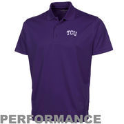 TCU Horned Frogs Omega Solid Mesh Tech Performance Polo - Purple