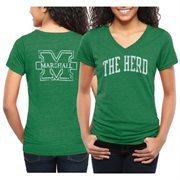Marshall Thundering Herd Women's Slab Serif Tri-Blend V-Neck T-Shirt - Green
