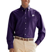 Kansas State Wildcats Box Plaid Poplin Button-Down Long Sleeve Shirt - Purple