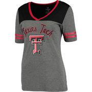 Women's Colosseum Heathered Gray Texas Tech Red Raiders Twist V-Neck T-Shirt