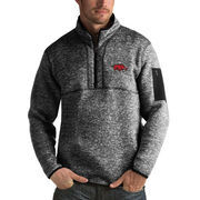 Men's Antigua Heathered Black Arkansas Razorbacks Fortune 1/2-Zip Pullover Sweater
