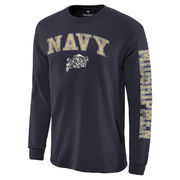 Men's Fanatics Branded Navy Navy Midshipmen Distressed Arch Over Logo Long Sleeve Hit T-Shirt