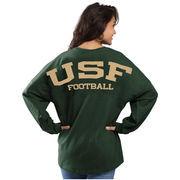 Women's Green South Florida Bulls Football Sweeper Long Sleeve Oversized Top