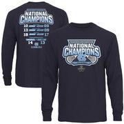 Men's Navy North Carolina Tar Heels 2016 NCAA Men's Lacrosse National Champions Long Sleeve Score T-Shirt