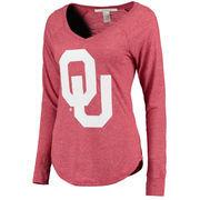 Women's chicka-d Crimson Oklahoma Sooners Favorite V-Neck Heathered Long Sleeve T-Shirt