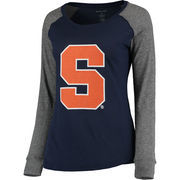 Women's Navy/Gray Syracuse Orange Preppy Elbow Patch Slub Long Sleeve T-Shirt
