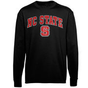 Men's New Agenda Black NC State Wolfpack Midsize Arch Over Mascot Long Sleeve T-Shirt