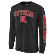Men's Fanatics Branded Black Rutgers Scarlet Knights Distressed Arch Over Logo Long Sleeve Hit T-Shirt