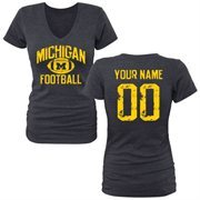 Women's Navy Michigan Wolverines Personalized Distressed Football Tri-Blend V-Neck T-Shirt