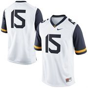 Men's Nike #15 White West Virginia Mountaineers Replica Game Football Jersey