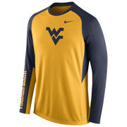 Nike Gold West Virginia Mountaineers 2015-2016 Elite Basketball Pre-Game Shootaround Long Sleeve Dri-FIT Top