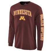Men's Fanatics Branded Maroon Minnesota Golden Gophers Distressed Arch Over Logo Long Sleeve Hit T-Shirt