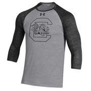 Men's Under Armour Black South Carolina Gamecocks Baseball Tri-Blend Three-Quarter Sleeve Performance T-Shirt