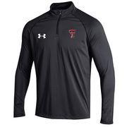 Men's Under Armour Black Texas Tech Red Raiders 2016 Sideline Stripe Knit 1/4 Zip Performance Jacket