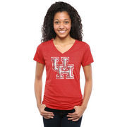 Women's Red Houston Cougars Classic Primary Tri-Blend V-Neck T-Shirt