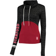 Women's Colosseum Black/Cardinal Stanford Cardinal Scaled Cowl Neck Pullover Hoodie