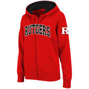 Women's Stadium Athletic Red Rutgers Scarlet Knights Arched Name Full-Zip Hoodie