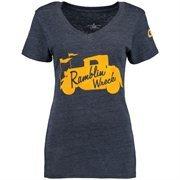 Women's Navy Georgia Tech Yellow Jackets DNA Tri-Blend V-Neck T-Shirt