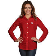 Women's Antigua Red Houston Cougars Dynasty Woven Long Sleeve Button-Up Shirt
