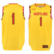 Men's Under Armour #1 Yellow Maryland Terrapins Performance Replica Basketball Jersey