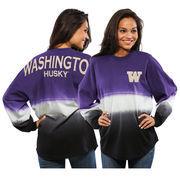 Women's Purple Washington Huskies Ombre Long Sleeve Dip-Dyed Spirit Jersey
