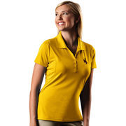 Women's Antigua Gold Wyoming Cowboys Pique Xtra-Lite Polo