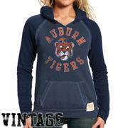 Original Retro Brand Auburn Tigers Women's Two-Toned V-Neck Hooded Sweatshirt - Navy Blue