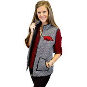 Women's Black Arkansas Razorbacks Herringbone Quilted Puffer Vest