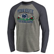 Men's Fanatics Branded Heather Gray/Navy Penn State Nittany Lions 2017 Rose Bowl Bound Prime Raglan Long Sleeve T-Shirt