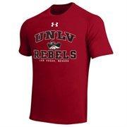 Mens UNLV Rebels Under Armour Scarlet School Mascot Tech T-Shirt