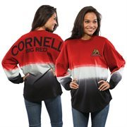 Women's Red Cornell Big Red Ombre Long Sleeve Dip-Dyed Spirit Jersey