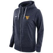 Women's Nike Navy West Virginia Mountaineers Tailgate Gym Vintage Full-Zip Hoodie